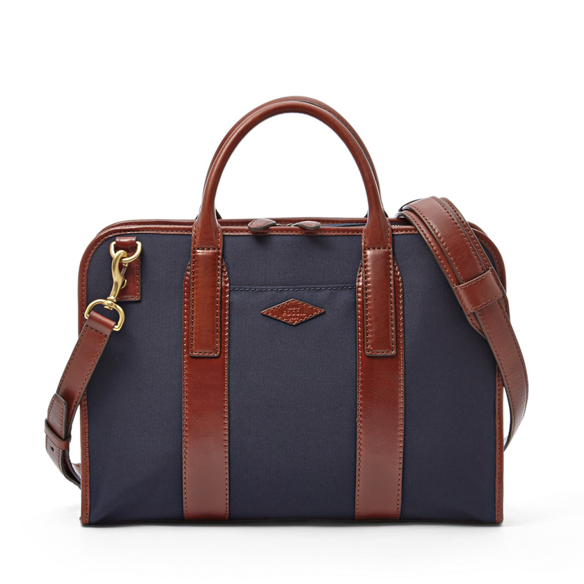 Fossil  Landon Small Top Zip Workbag  Navy 22606424