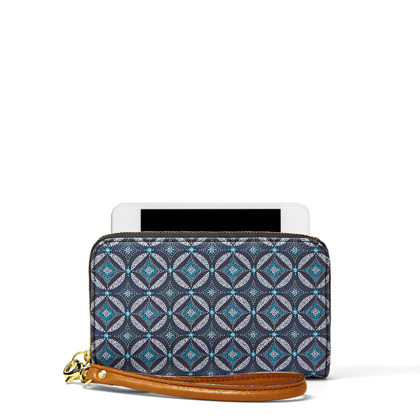 Fossil  Sydney Zip Phone Wallet  Blue Multi 22502839