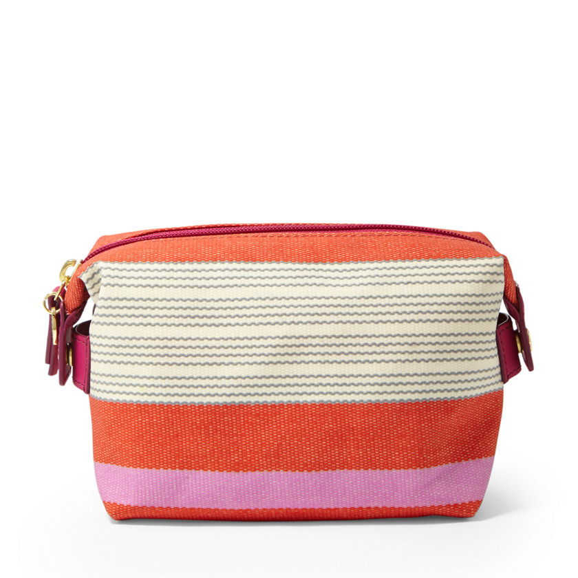 Fossil  Key-Per Zip Cosmetic  Pink Stripe 22530471