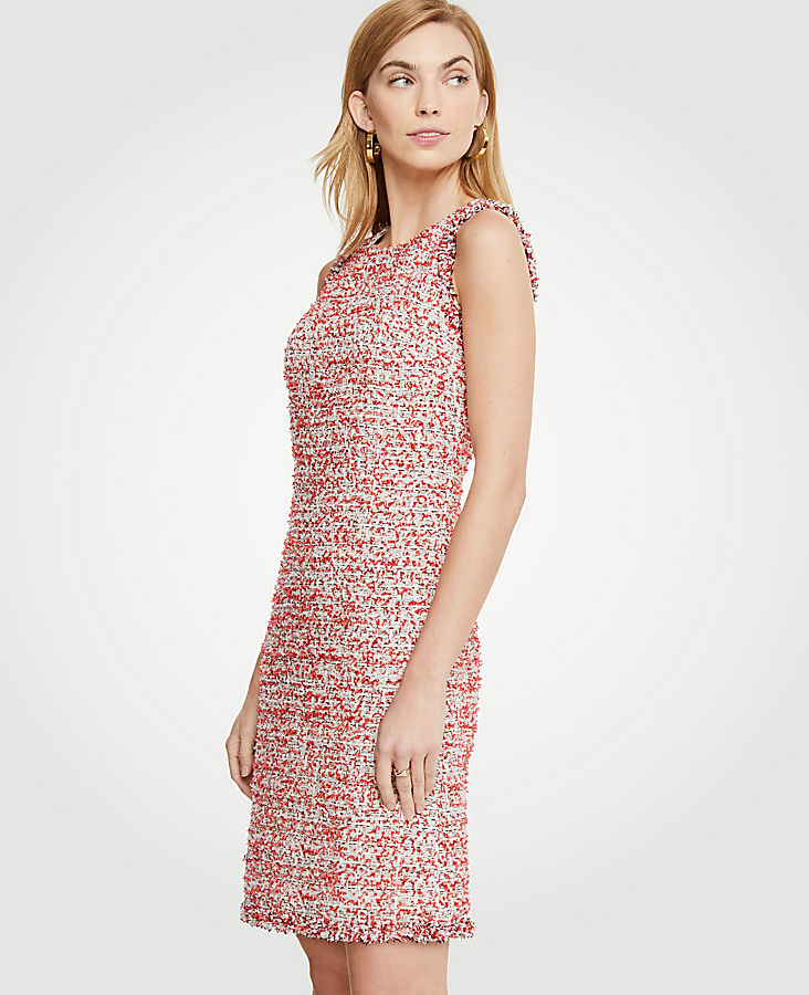 Textured Tweed Fringe Shift Dress by Ann Taylor