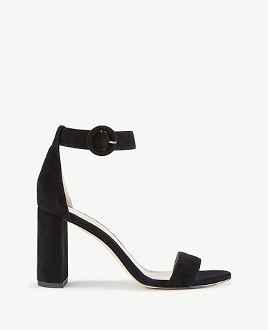 Leannette Suede Leather Block Heel Sandals
