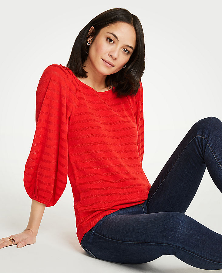 Striped Balloon Sleeve Sweater by Ann Taylor
