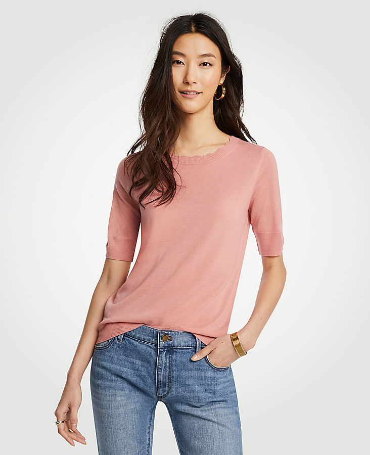 Petite Scalloped Short Sleeve Sweater by Ann Taylor