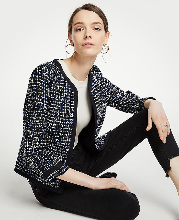 Tipped Tweed Jacket by Ann Taylor