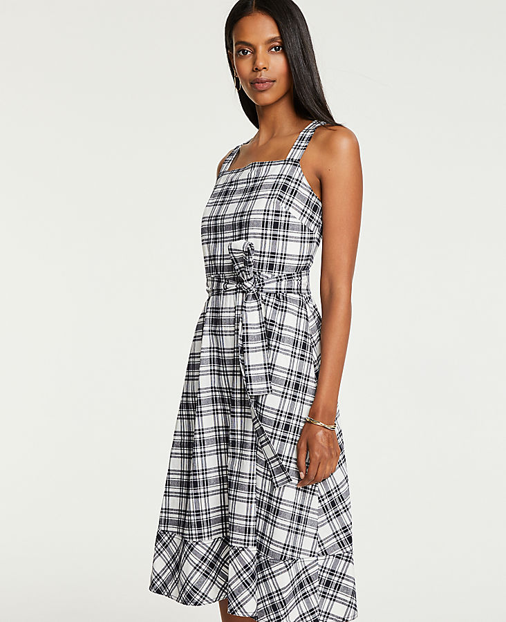 Plaid Tie Waist Midi Dress by Ann Taylor