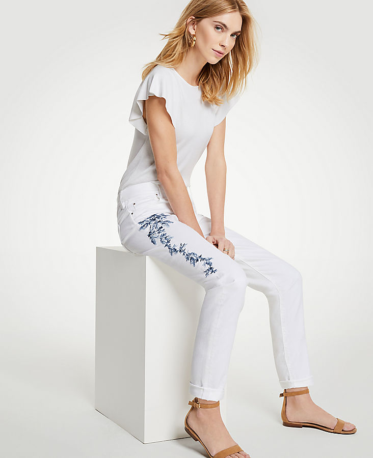 Embroidered Floral Girlfriend Jeans by Ann Taylor