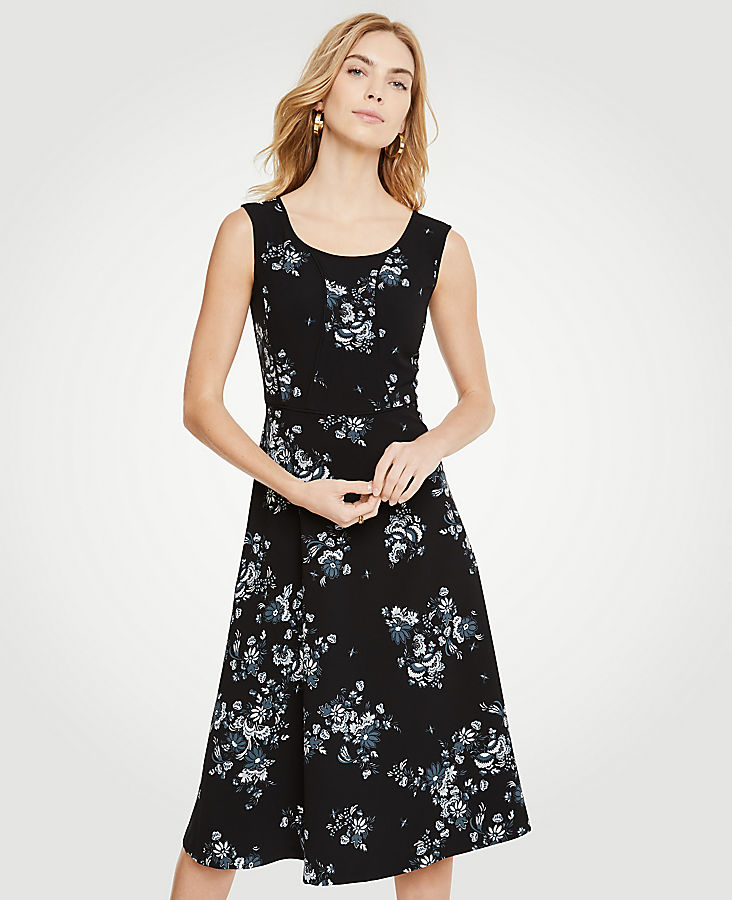 Floral Piped Midi Dress by Ann Taylor