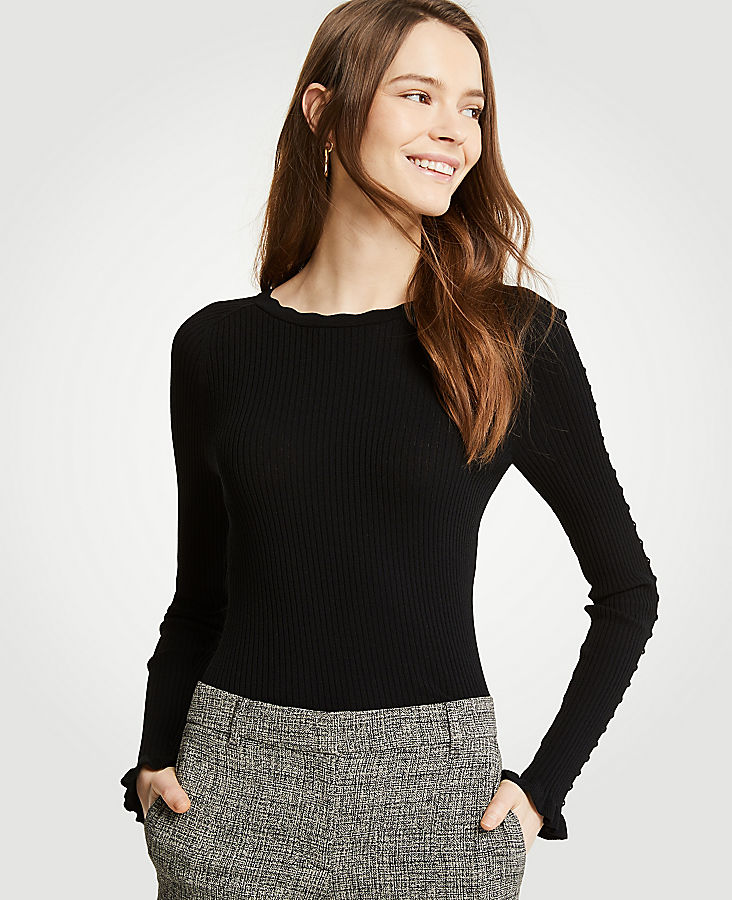 Petite Ribbed Ruffle Cuff Sweater by Ann Taylor