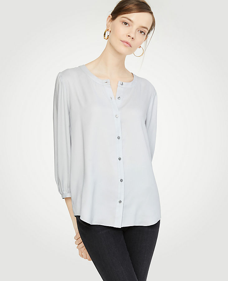 Collarless Button Down Blouse by Ann Taylor