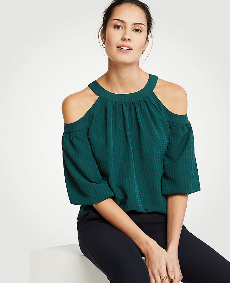 Cold Shoulder Tie Back Top by Ann Taylor