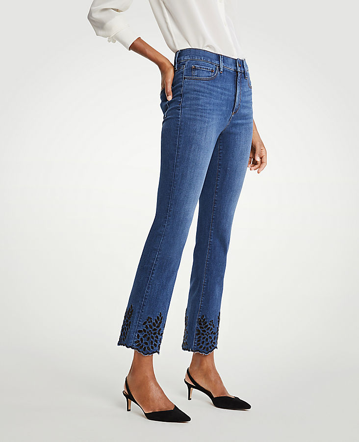Eyelet Flare Crop Jeans by Ann Taylor