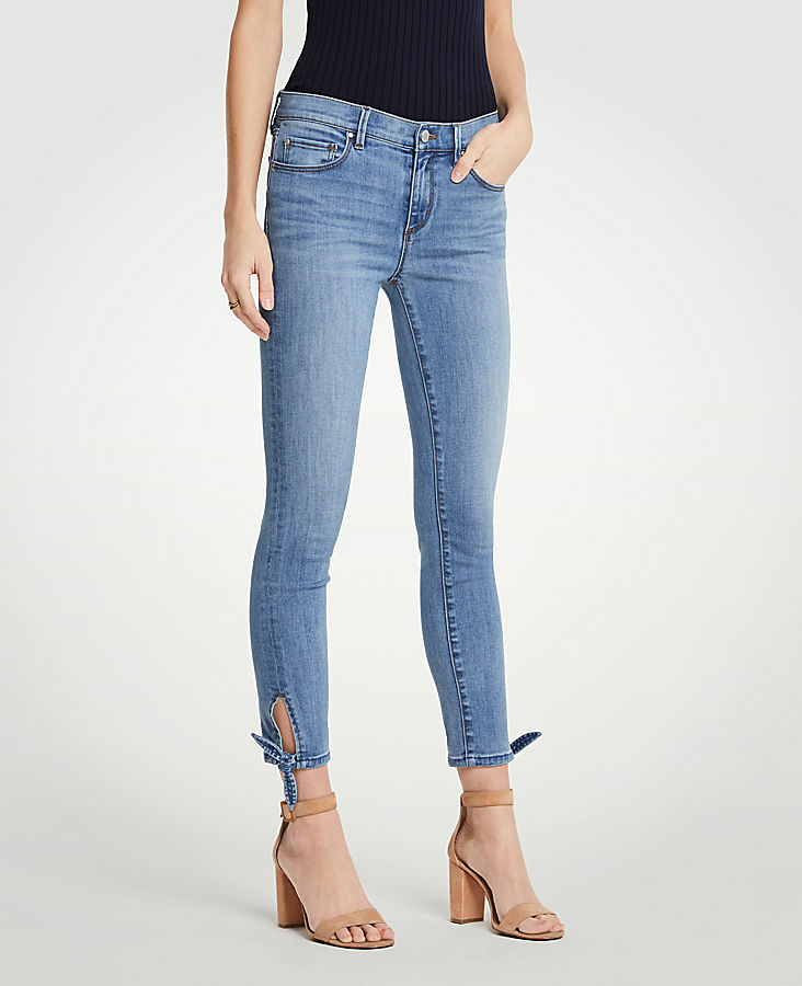 Curvy Ankle Tie All Day Skinny Crop Jeans by Ann Taylor