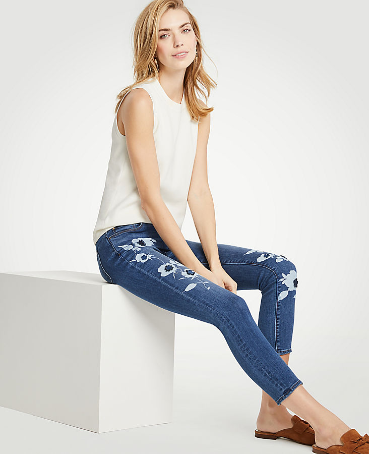 Petite Modern Painted Floral All Day Skinny Crop Jeans by Ann Taylor