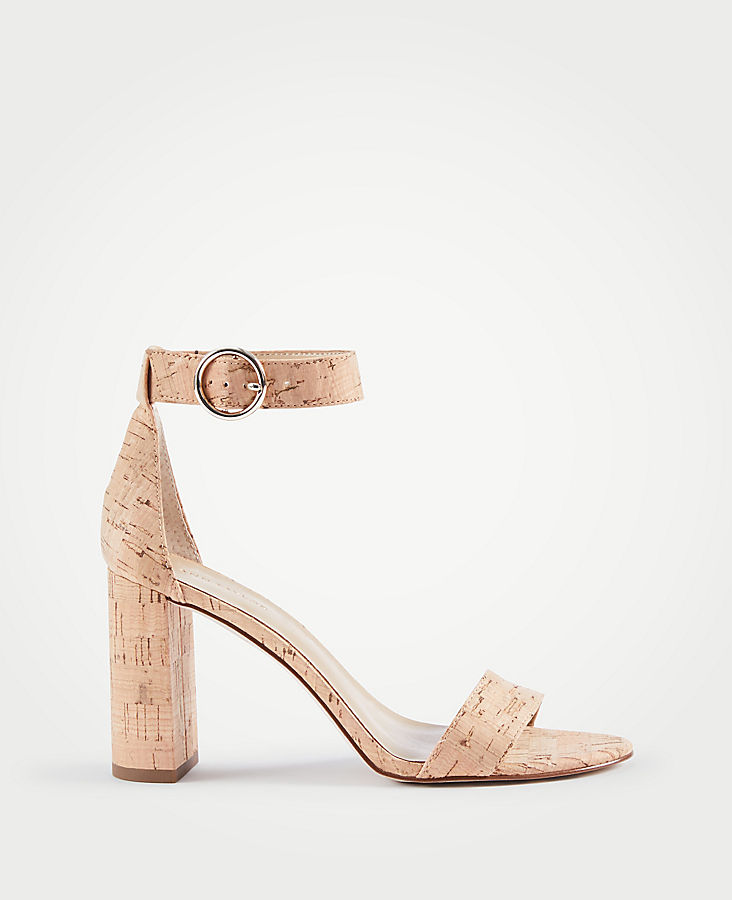Leannette Cork Block Heel Sandals by Ann Taylor