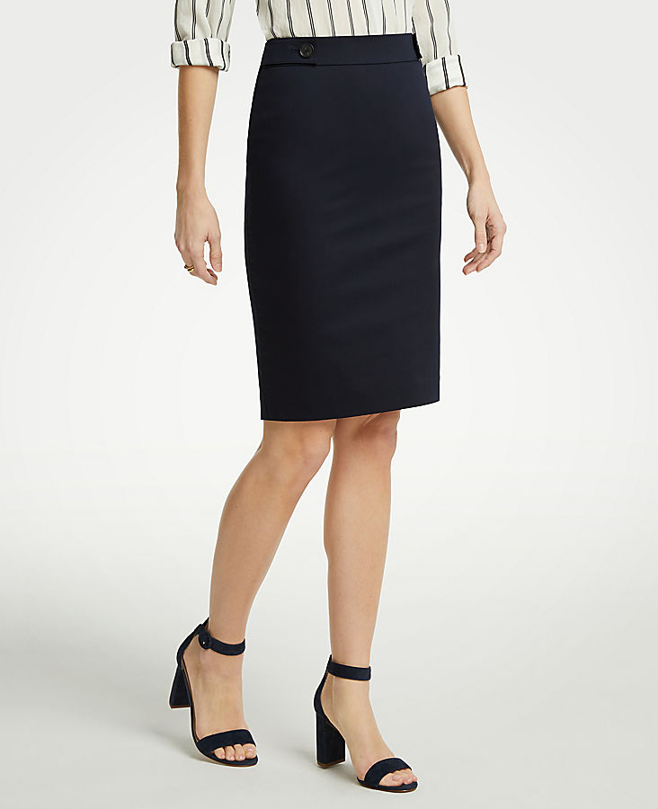 Cotton Sateen Button Tab Skirt by Ann Taylor