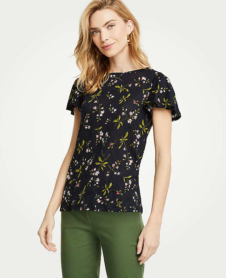The Flutter Linen Tee In Floral by Ann Taylor