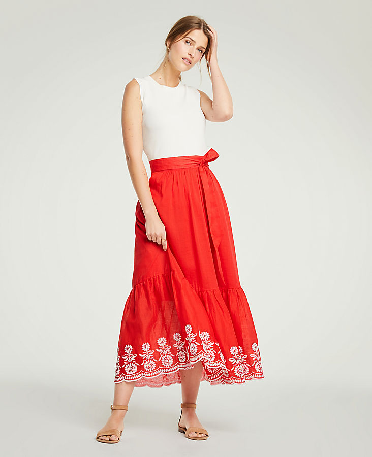 Petite Floral Embroidered Tie Waist Maxi Skirt by Ann Taylor