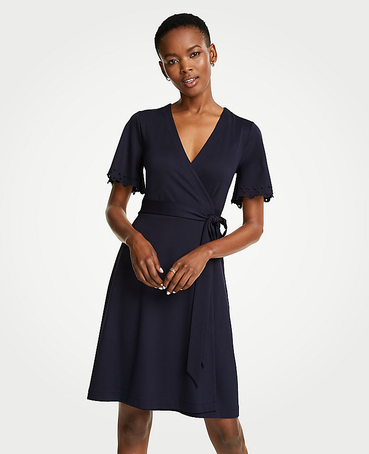 Embroidered Flutter Sleeve Wrap Dress by Ann Taylor