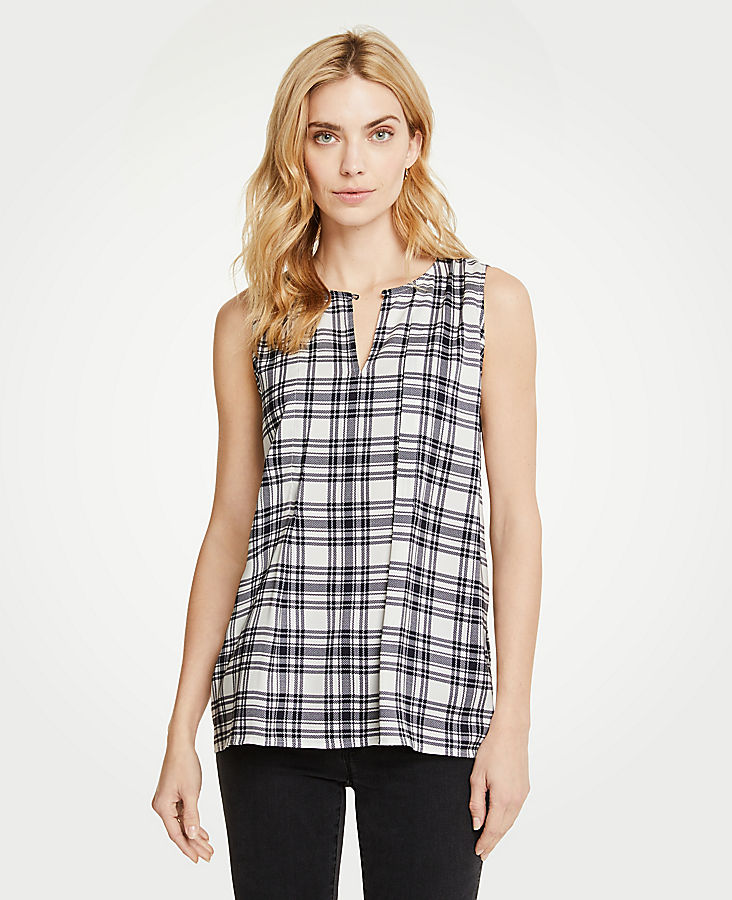 Plaid Pleat Front Shell by Ann Taylor