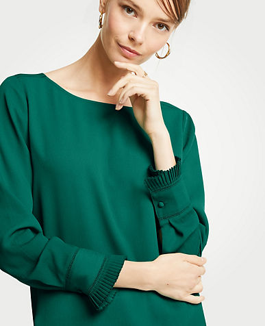 Pleated Cuff Boatneck Blouse