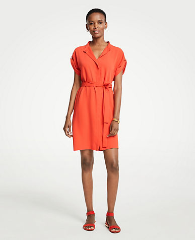 Short Sleeve Tie Waist Shirtdress