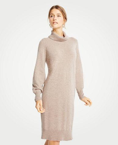 앤테일러 Ann Taylor Cashmere Turtleneck Dress,Warm Neutral Melange