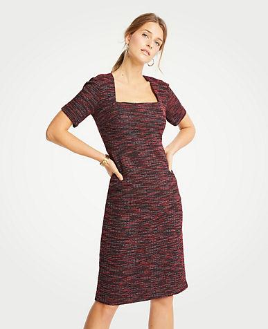 앤테일러 Ann Taylor Tweed Square Neck Sheath Dress,Red Multi