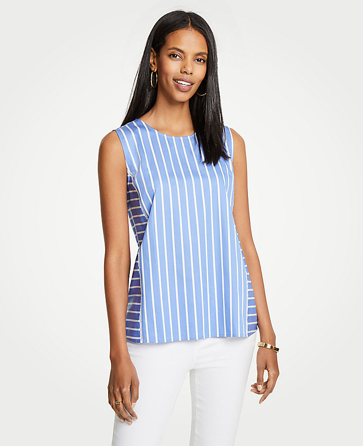 Striped Cutout Shell by Ann Taylor
