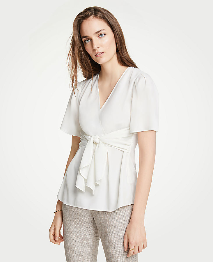 Petite Tie Wrap Top by Ann Taylor