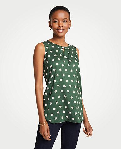 앤테일러 Ann Taylor Dot Floral V-Cutout Shell,Dark Emerald