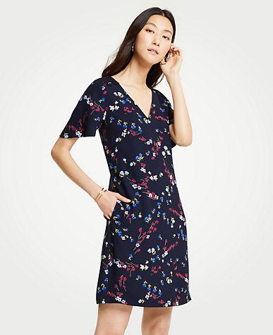 앤테일러 Ann Taylor Tall Savannah Floral Lace Pocket T-Shirt Dress,Night Sky