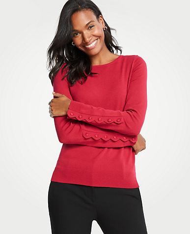 앤테일러 Ann Taylor Scalloped Button Cuff Sweater