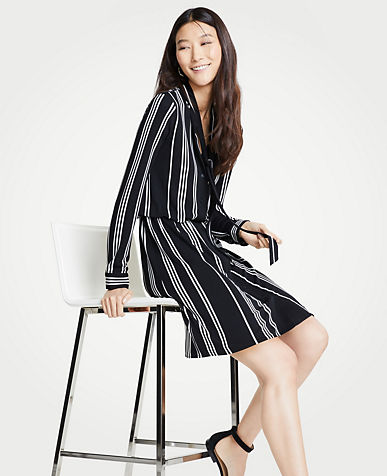 앤테일러 셔츠 원피스 Ann Taylor Striped Tie Neck Shirtdress,Black