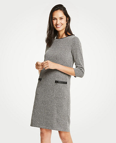Faux Leather Trim Tweed Shift Dress