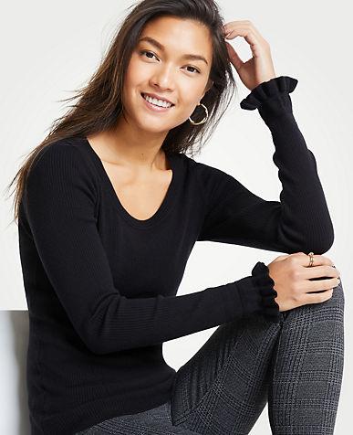 앤테일러 Ann Taylor Ruffle Sleeve Sweater