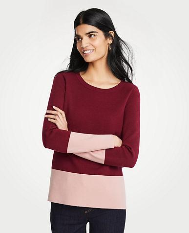 앤테일러 Ann Taylor Colorblock Sweater,Scarlet Lily