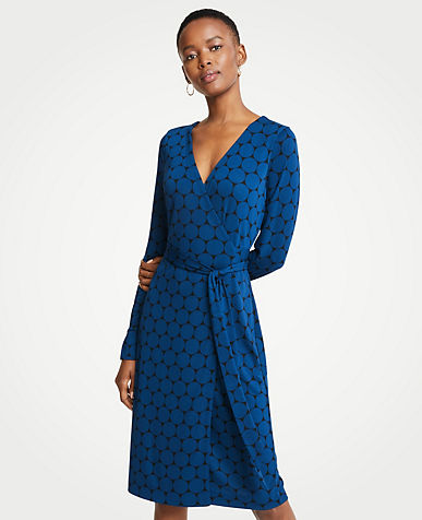 앤테일러 Ann Taylor Polka Dot Button Cuff Wrap Dress,Black
