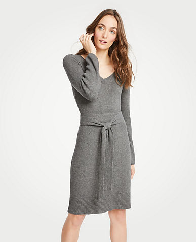 앤테일러 Ann Taylor Tie Waist V-Neck Sweater Dress,Pebble Grey Melange