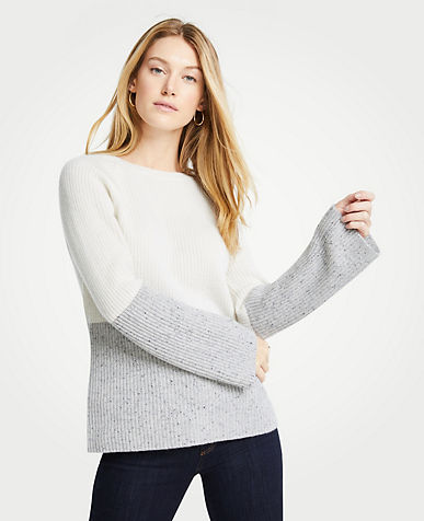 앤테일러 Ann Taylor Cashmere Colorblock Ribbed Crew Neck Sweater,Winter White