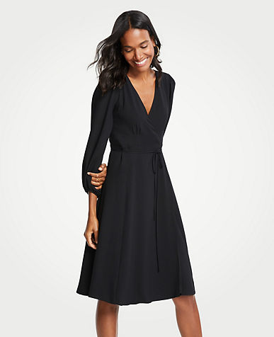 앤테일러 Ann Taylor 3/4 Sleeve Wrap Dress,Black