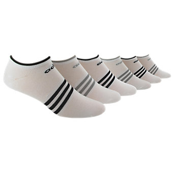 Women's Superlite 6-Pack No Show, White/Black/Light Onix