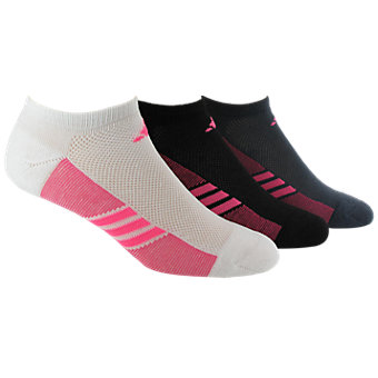 Climacool Superlite 3-Pack No Show, White/Solar Pink Black/Solar Pink Bold Onix/Solar Pink