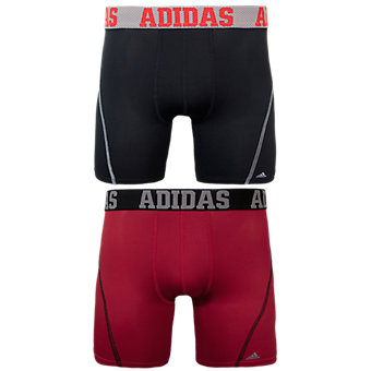 Sport Performance Climacool 2-Pack Boxer Brief, Black/Grey Real Red/Black
