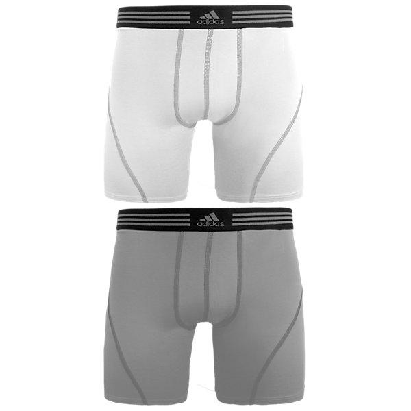 Athletic Stretch 2-Pack Boxer Brief, White/Aluminum 2 Aluminum 2, large