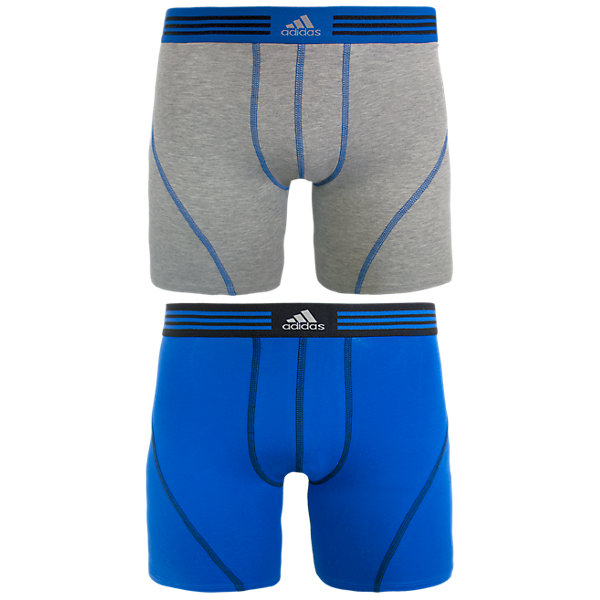 Athletic Stretch 2-Pack Boxer Brief, Heather Grey/Bold Blue Bold Blue/Black, large