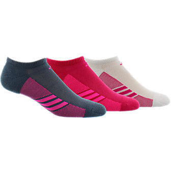 Women's Climacool Superlite 3-Pack No Show, White/Shock Purple/Core Pink/Solar Gold