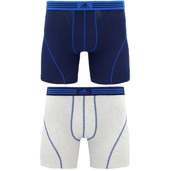 Athletic Stretch 2-Pack Boxer Brief, Collegiate Navy/Shock Blue Heather White/Collegiate Navy, large