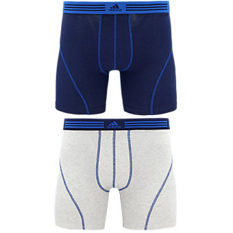 Athletic Stretch 2-Pack Boxer Brief, Collegiate Navy/Shock Blue Heather White/Collegiate Navy