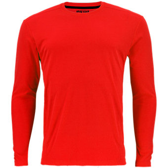 Men's Climacool Single Long-Sleeve Crew, Hi Res Red
