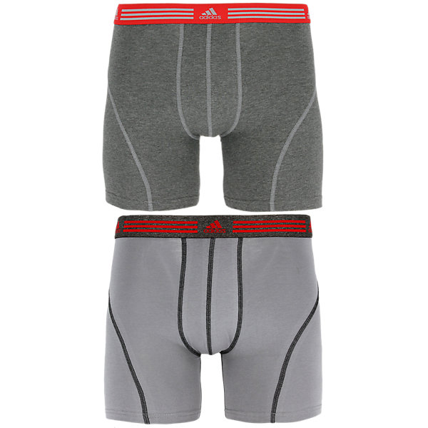 Athletic Stretch 2-Pack Boxer Brief, Marl Heather Black/Ray Red Grey/Black/Ray Red, large